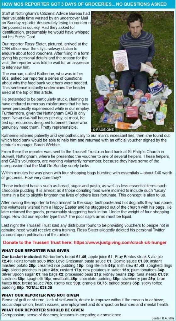 Daily Mail foodbank bullshit Spoof